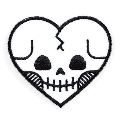 SKULL HEART EMBROIDERED IRON-ON PATCH