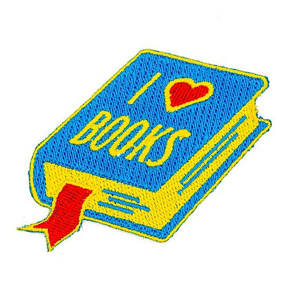 I LOVE BOOK EMBROIDERED IRON-ON PATCH