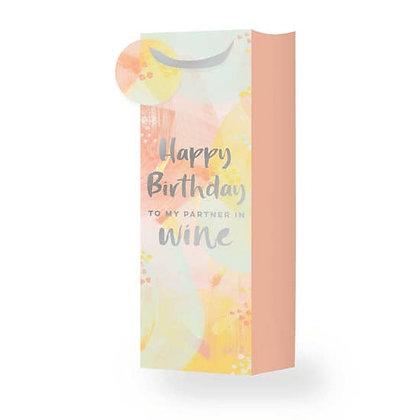 HAPPY BIRTHDAY TO MY PARTNER IN WINE SINGLE BOTTLE WINE BAG