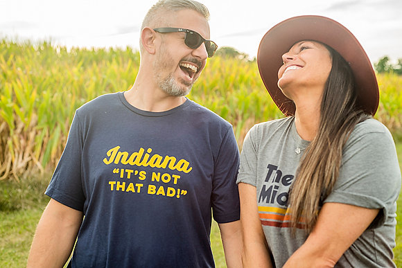 "INDIANA:  ""IT'S NOT THAT BAD""  NAVY/MUSTARD TEE"