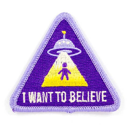 I WANT TO BELIEVE EMBROIDERED IRON-ON PATCH