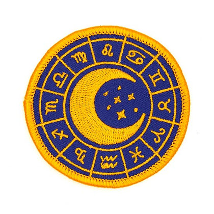 ZODIAC WHEEL EMBROIDERED IRON-ON PATCH