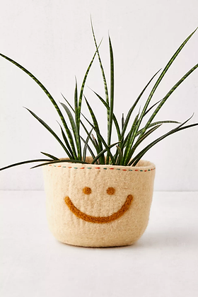 HAPPY FACE FELTED PLANTER COVER