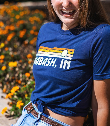 WABASH IN RECTANGLE SUNSET TEE NAVY