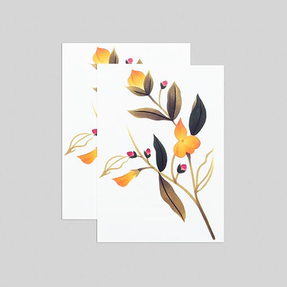 YELLOW FLORAL TATTOO SET OF TWO