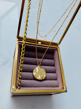 Gold Organic Disc Necklace