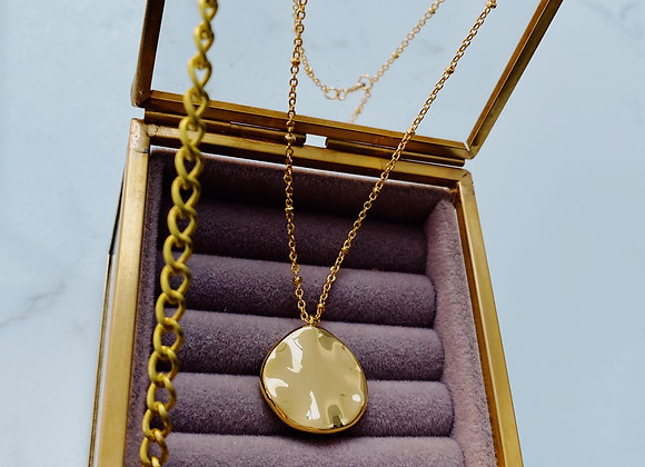 Sample Sale Gold Organic Disc Necklace