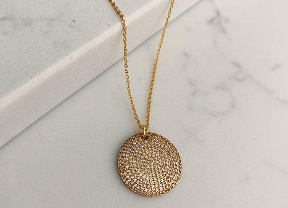 Cubic Zirconia Disc Necklace