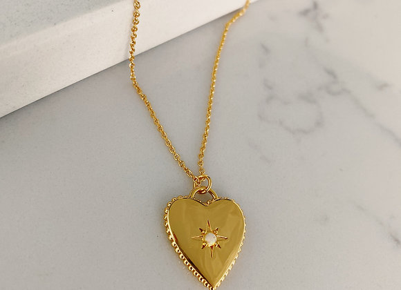 Gold Opal Heart Necklace