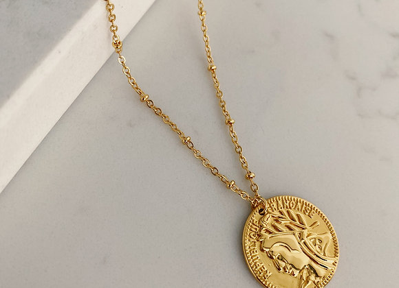Gold Coin Necklace on Bobble Chain