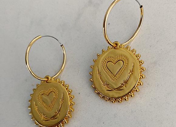 Gold Heart Disc Hoops