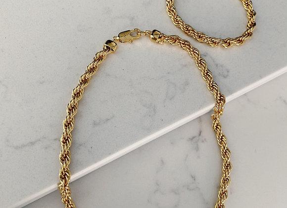 Gold Rope Necklace & Bracelet Set