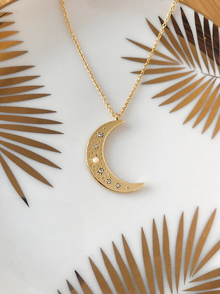 Gold Opal Moon Necklace