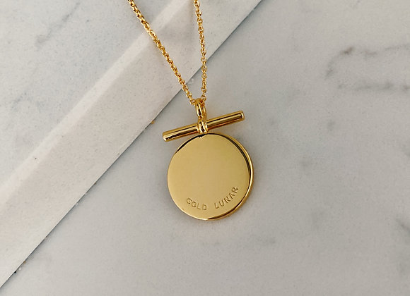Gold Bar Disc Necklace