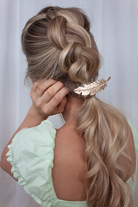 Feather Hair Barette - Gold & Silver