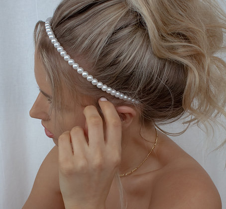 White Pearl Embellished Alice Band