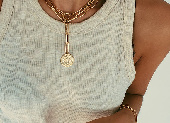 Gold Layered T bar & Chunky Lariat Chains