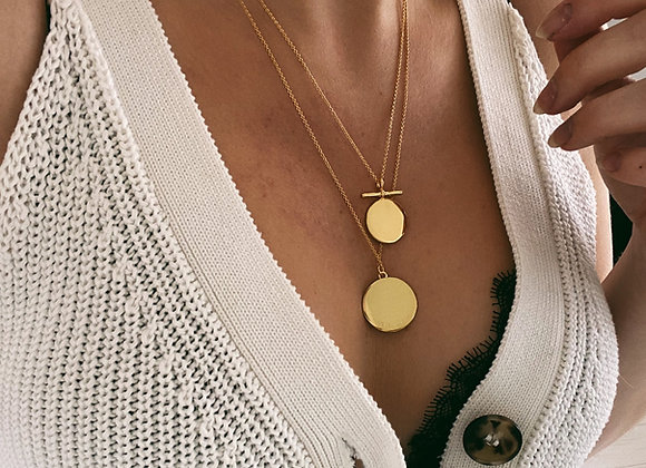 Gold Double Disc Necklaces