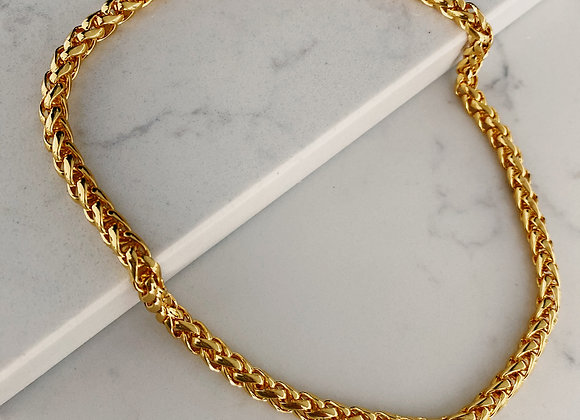 Gold Braided Cord Chain Necklace