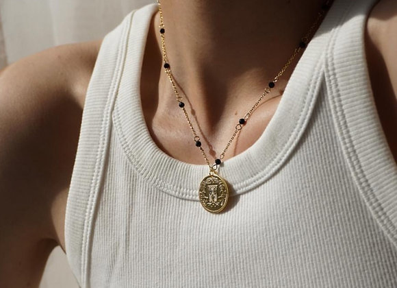 Gold Coin & Sandstone Necklace