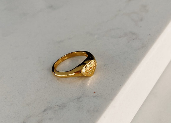 Gold Plated Engraved Pinky Ring