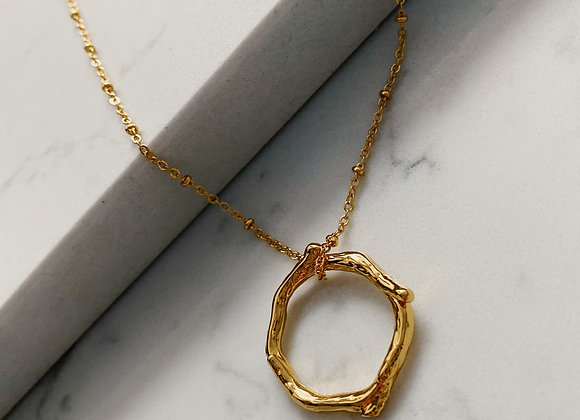 Gold Ring Necklace on Bobble Chain