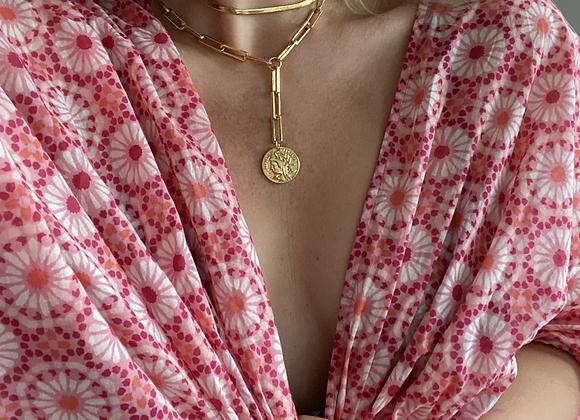 Gold Herringbone Chain & Coin Lariat