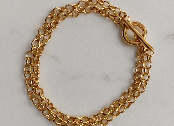 Gold Double Chain T Bar Bracelet