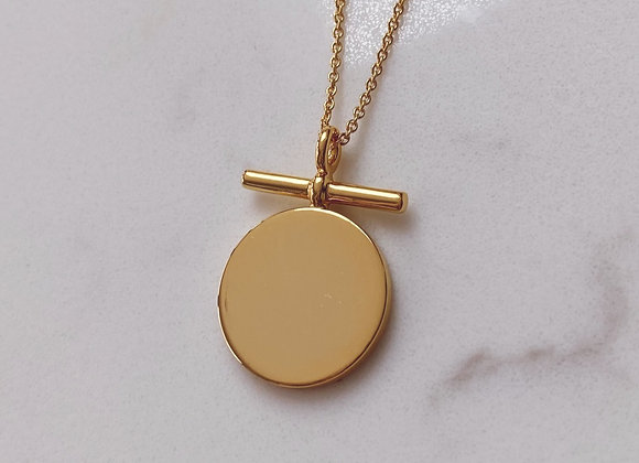 Gold Solid Bar Disc Necklace