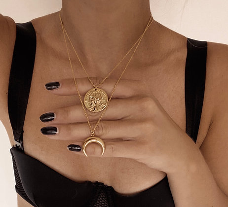 Gold Coin & Horn Layered Necklaces