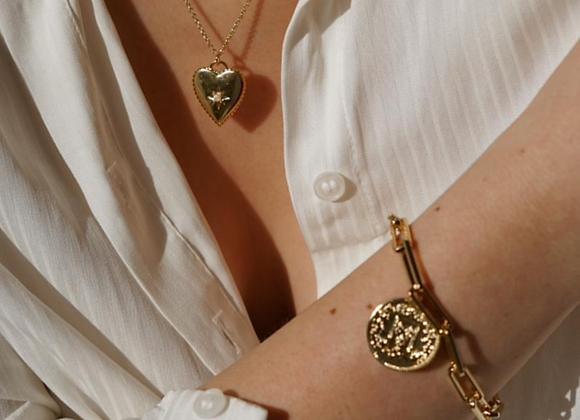 Gold Chunky Chain & Coin Bracelet