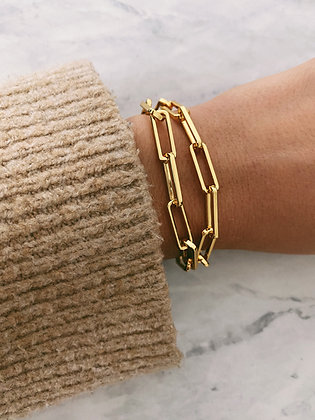 Gold Double Wrap Chunky Chain Bracelet