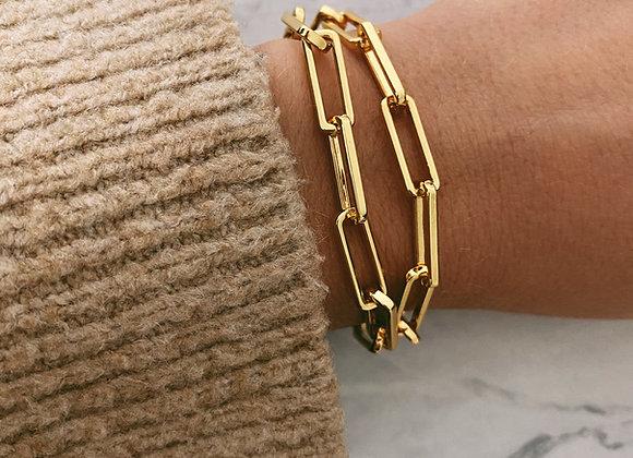 Gold Double Wrap Chunky Chain Bracelet