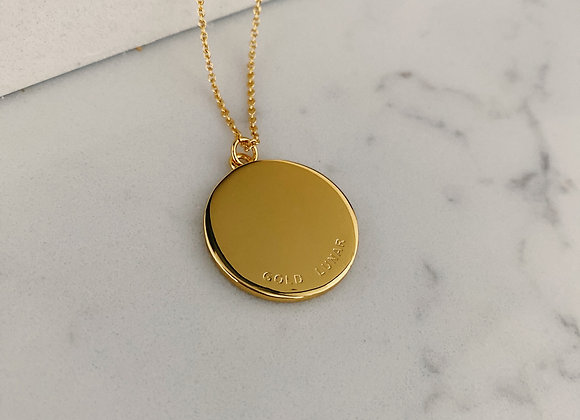 Gold Large Brass Disc Necklace