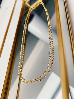 Gold Short Bobble Chain Necklace