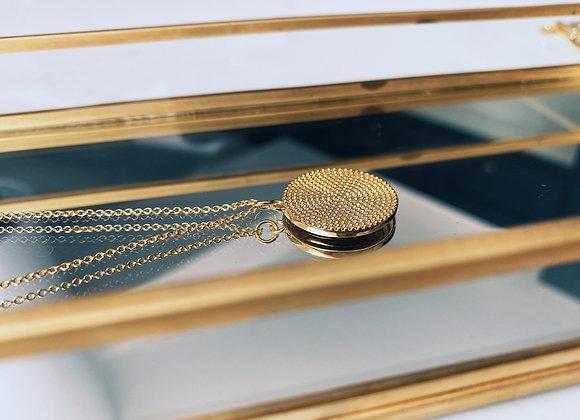 Gold Textured Brass Disc Necklace
