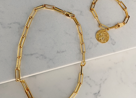 Gold Chunky Chain Necklace & Bracelet Set