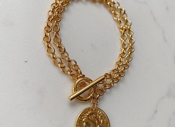 Gold Double Chain & Coin T Bar Bracelet