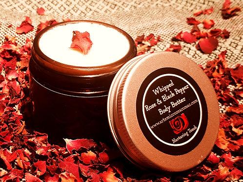 Rose, Geranium & Black Pepper Whipped Body Butter: big 60ml Jar!