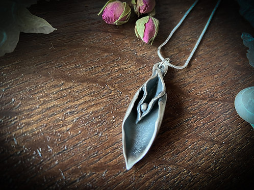 Large Silver Flower Necklace