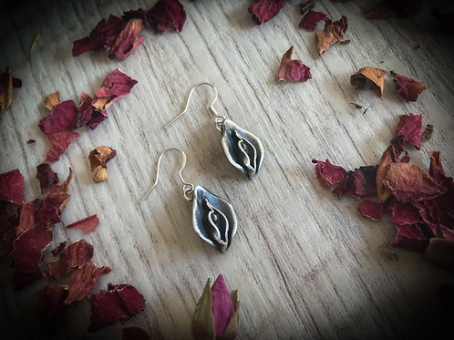 Silver Yoni Earrings