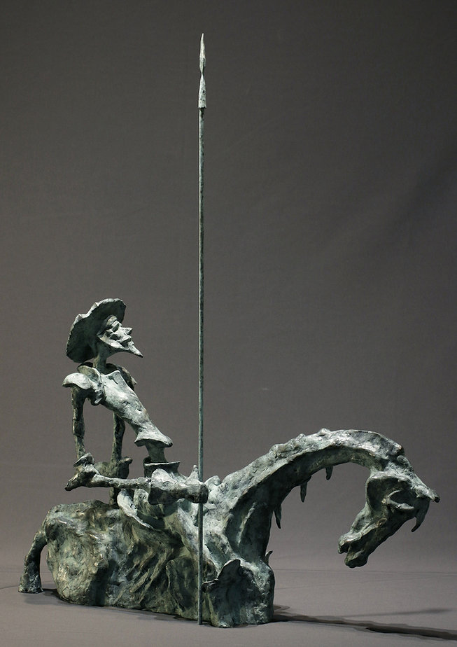 DON QUICHOTTE / bronze /  H 63 -L 15 - P 45 / patine vert antique / 5800 €