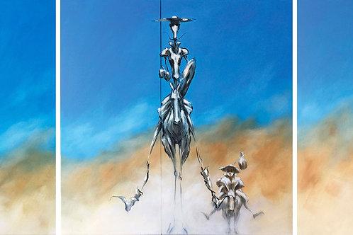 DANS LA POUSSIERE DE LA MANCHA- huile sur toile - ( 80 x 80 ) x 3  - 9500 €