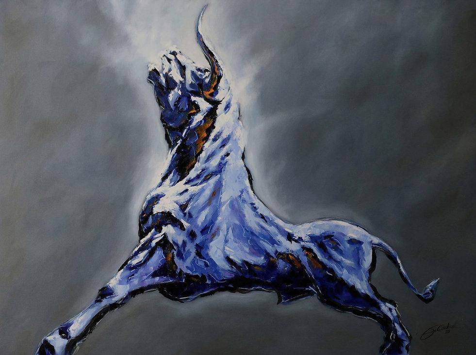 TAUREAU MYTHIQUE - huile sur toile - 130 x 97 - 7500 €