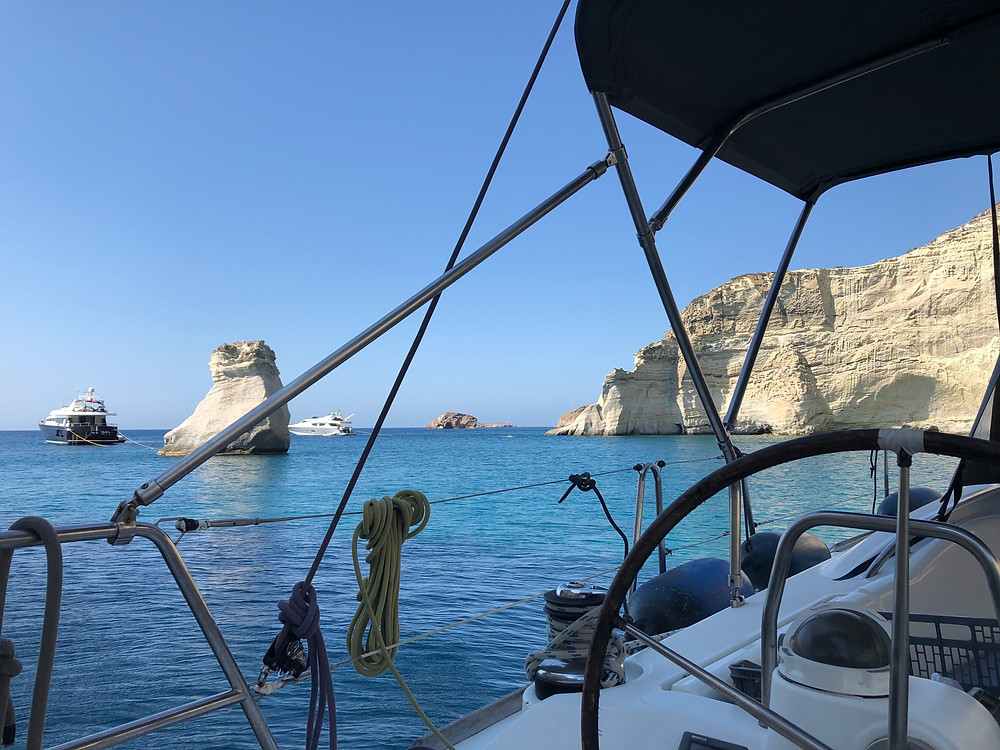 Breath-taking view of a cove at Kelftiko, Milos island on board a chartered monohull