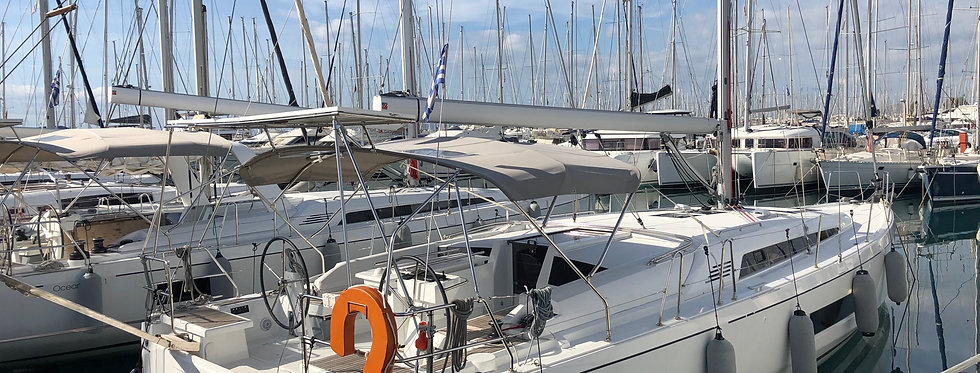 New Oceanis 46.1 monohull bareboat sailing yacht charter Greece salon view