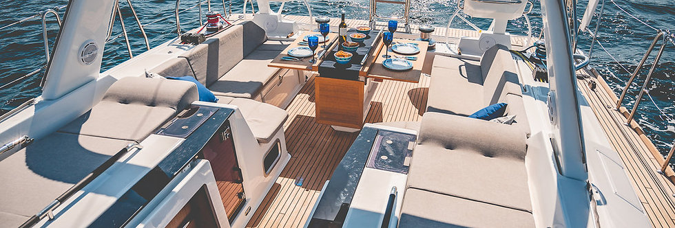 Oceanis 55.1 bareboat luxury yacht charter sailboat in Greece cockpit view