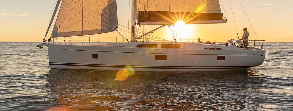 New Hanse 508 monohull bareboat sailing yacht side view at Delos charter