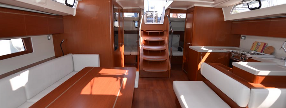 New Oceanis 51.1 monohull bareboat sailing yacht charter Greece salon view