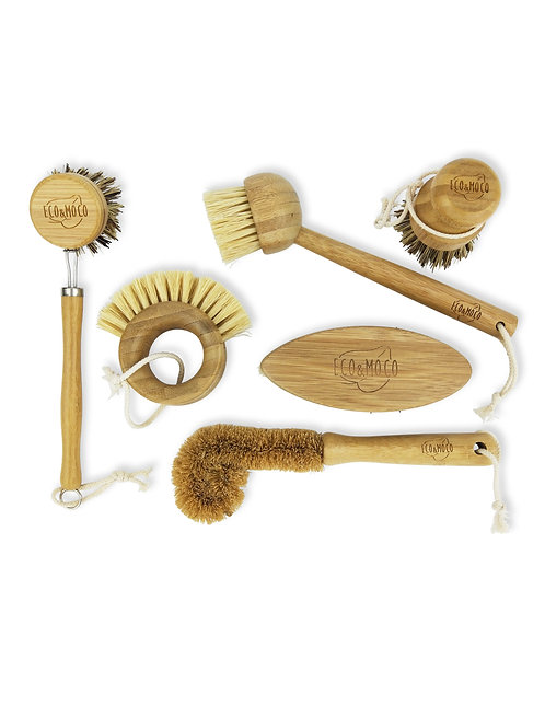 Bamboo cleaning brush/ scrubber set